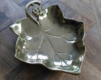 Vintage French brass grape leaf fruit bowl