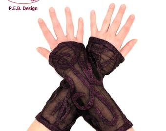 Silk black purple leg warmers, arm warmers, Nuno-warmers, felt warmers, silk, wool