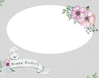 Easter Card Template for photographers PSD Flat Card - Easter - Photoshop Template