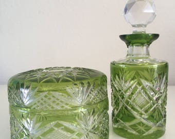 antique  green cut to clear crystal vanity set
