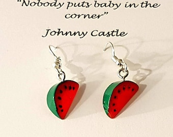 Dirty Dancing Watermelon Earrings Gift Set. Johnny or Baby movie quote design. Quality Silver Plated Drop Earrings.Birthday Gift. Hen Party