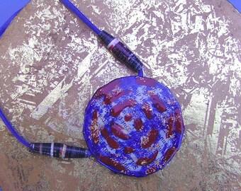 Ochre Spiral Tribal Pendant Necklace Shaman Book Art Natural Pigments Copper Mica Earth Water Air Goddess Symbol Blue Ultramarin Paper Beads