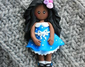 Little girl brooch polymer clay miniature doll handmade womens jewelry