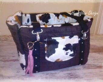 Dog bag, bag 'Country' cow, Brown, fur, quilt