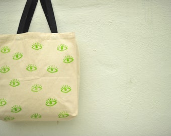 Green Eye design_Canvas Tote Bags_eco friendly gift_women_canvasbag_handmade_trendy_unique_cool_handpicked_shop