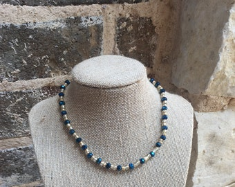 Blue and gold choker