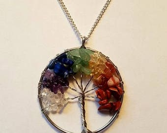 Tree Of Life Necklace Crystal Tree Of Life Necklace Tree Of Life Pendant Rainbow Tree Of Life Necklace Chakra Necklace Chakra Crystal
