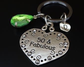 50 and Fabulous Keychain, 50th Birthday for Him, 50th Birthday for Her, 50th Birthday Gift,50th Birthday Gift for Her,50th Birthday Gift Him