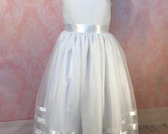 First Communion Dress, Flower Girl dress, Dress for girl,  White Dress, Satin  Dress, tulle dress, Communion dress, elegant dress for girls