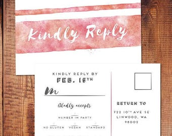 Pink Watercolor Postcard RSVP - Customizable