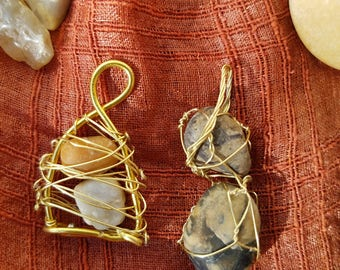 set of 2 ~ wire wrap pendants