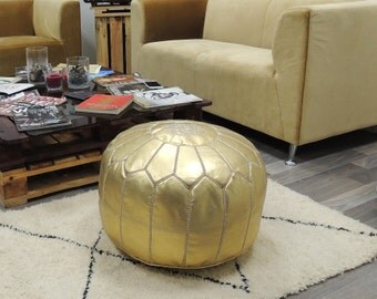 Gold leather pouf,moroccan handcrafted leather pouf, ottoman leather pouf