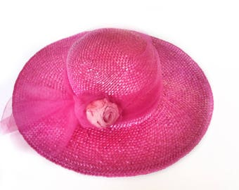 Wide brim bride pink straw hat style Kate Middleton  fedora woman summer flower party hat Millinery Accessory elegant woman Melbourne cup