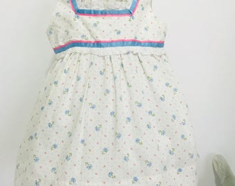 Vintage  Hand made MCM  Calico Print  Ribbon and Lace baby Dress/ Swing top