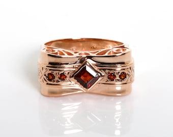Garnet Rose Gold Ring - Vintage Garnet Ring - Bow Garnet Ring - January Birthstone Vintage Ring - Gemstone Unique Ring - Gemstone Jewelry