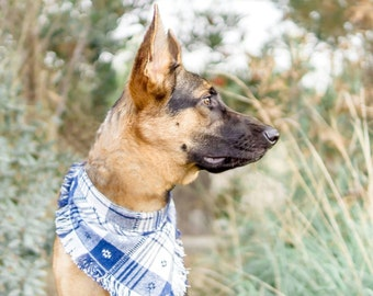 PLAIDITUDE BLUE - Frayed Dog Bandana - Plaid Bandana - Blue Dog Bandana - Dog Gift - Fringe Bandana - Flannel Bandana - Pet Scarf