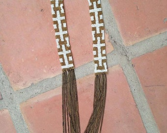 Antique 1920s art deco seed bead chain necklace