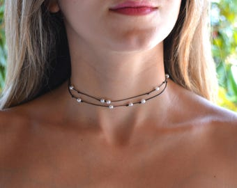 pearl choker, pearl choker necklace, dainty choker, layered choker, layered necklace, pearl necklace, beaded choker, choker with pearls