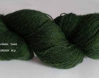 Kauni Wool Yarn Kauni 8 2 DARK GREEN Estonian kauni wool artistic yarn artistic wool kauni effektgarn sock yarn hand dyed yarn Knitting art