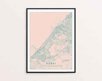 Dubai Blush Pink City Map Print, Clean Contemporary poster fit for Ikea frame 50x70cm, gift art him her, Anniversary personalized