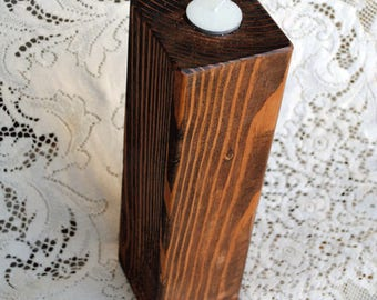 Real Wood Wedding -  Wedding Large Pillar Votive Candle Holder