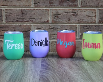 12 oz Stainless Steel Wine Tumblers, Personalized Wine Tumbler, Double Wall Insulated Wine Tumblers,