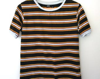 Urban Outfitters BDG black yellow stripe blogger t-shirt tee UK M