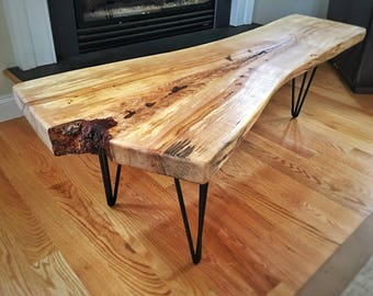 Live Edge Slab Coffee Table With Steel Hairpin Legs