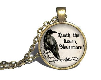 Edgar Allen Poe, 'Quoth the raven, nevermore', Gothic Literature, Nevermore Necklace, Edgar Allen Poe Necklace, Poe Quote Bracelet