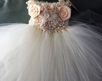 Beautiful Ivory Tutu Flower Girl Dress First Birthday Dress Completely Embellished with Flowers Pearls Ribbons