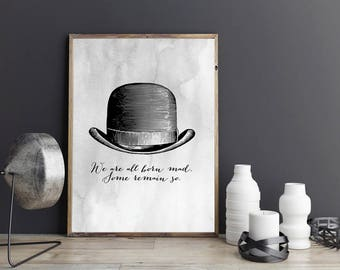 Printable Waiting for Godot Quote | Samuel Beckett Art | We are all Born Mad | Literary Quote | Instant Download | Literary Art | Dorm Decor