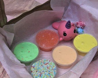 SLIME GIFTBOX - 4 or 5 Different Slimes with Extras - 3 oz or 6 oz