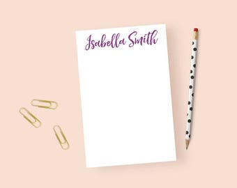Personalized Notepad Calligraphy, Personalized Stationary Notepad, Personalized Notepad Women, Minimalist Notepad Custom Note Pad, 5.5 x 8.5