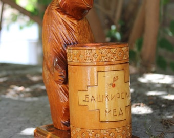 Bear in a barrel with honey / wood carving/ handmade/ USSR