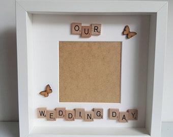 Our wedding day frame, wedding box frame , wedding gift, wedding photo, box frame, scrabble frame, keepsake frame, wedding photo frame