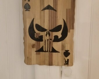 """decoration """"ace of spades"""" punisher wooden recycled"""