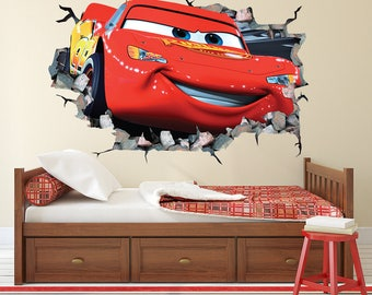 D Wall Decals Etsy - Lightning mcqueen custom vinyl decals for car