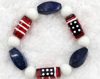 Patriotic Americana red white and blue bracelet