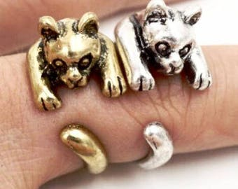 Witty Novelty Clinging Kitten Ring Cute Cat Ring Unique Animal Jewelry Cat Lovers Ring Cat Lovers Animal Ring