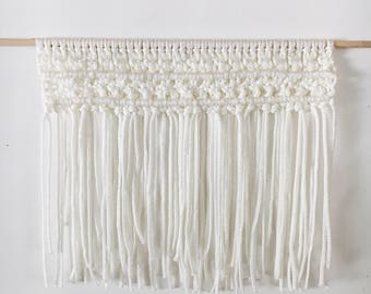 SALE - Large macrame wall tapestry - made with vintage 1970's macrame cord - off white