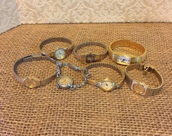 Vintage Ladies Wrist Watch Lot of 7 Non Working Altered Art Steam Punk Mixed Media Parts