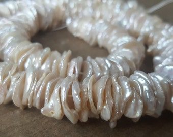 Large Keishi Freshwater Pearl Beads, White, Ivory, 10-13mm, High Quality, 10 Pieces