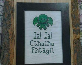 Square Cthulhu, Lovecraft Cross Stitch