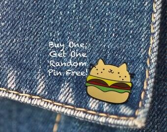 BUY 1, GET 1 Random Pin Free! Cat Enamel Pin Cat Lapel Pin Burger Cat Pin Badge Cat Lover Pin Cute Pin Kitten Pin Hard Enamel Pin Kitty Pin