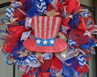 Deco Mesh Patriotic 4th of July Summer Wreath