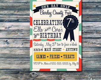 County Fair Birthday Party Invitation - Twin Party or Shared Party Option - Custom Invitation - Printable Invitation
