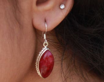 Indian Ruby 925 Sterling Silver Earring, Marquise Shaped Indian Ruby Earring, Birthstone Earring, Natural Gemstone Handmade Artistic Earring