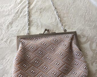 Vintage Beige and White Beaded Clutch Evening Bag Purse Silver Chain