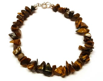 Tiger Eye Bracelet, Sterling Silver, Free Form Bead, Tiger's Eye, Gemstone Jewelry, Natural Bead, Gift For Her, Present, Tiger Eye Jewellery