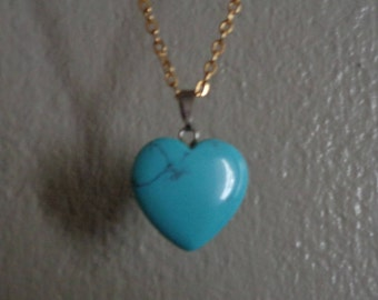 """Turquoise Stone Heart Charm Necklace 18"""" gold chain"""